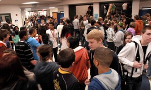 crowded high school hallway